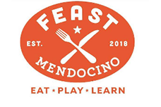 Logo of Feast Mendocino - Eat - Play - Learn