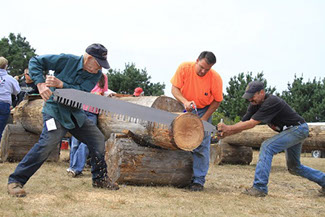 photo showing men cutting logs with a large old fashion saw at the Paul Bunyan Days.
